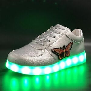 Luminous Sneaker Butterfly Embroidery Glowing Sneakers Kids Led Shoes