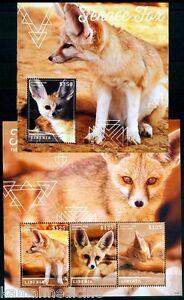 Small Nocturnal Fox -Fennec Fox, Wild Animals, Liberia 2015 MNH MS+SS