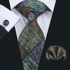 Classic Green Mens Tie Set Plaids Checks Silk Necktie Orange Strip Tie C-1738