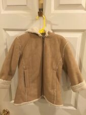 GAP Kids Girl Winter Faux Suede Long Sherpa Hooded Coat Faux Fur Lined XS 4-5
