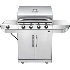 NEW CHAR-BROIL 4-BURNER STAINLESS STEEL BBQ LP GAS GRILL W SIDE BURNER CABINET
