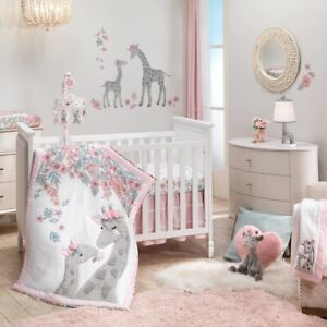 Lambs Ivy Giraffe and a Half 5 PC Baby Nursery Crib Bedding Set w Musical Mobile
