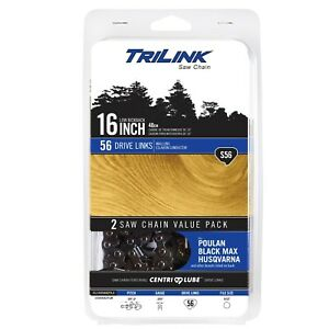 """TriLink S56 2-Pack Replacement Low Kickback Saw Chain 16"""" (.50, 3/8LP, 5/32)"""
