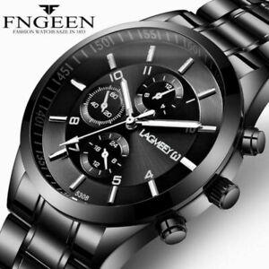 Mens Watch Black Stainless Steel Analogue Sport Quartz Luminous Wrist Watches UK