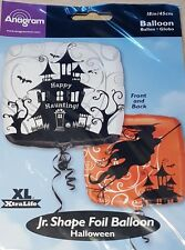 """1x Square Halloween """"Happy Haunting"""" Foil Balloon ~ 2 Designs Front & Back."""