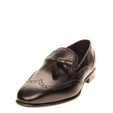 Rrp €655 Salvatore Ferragamo Leather Loafer Shoes Size 42 Uk 7 Us 8 Handmade