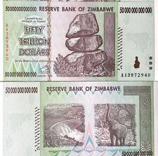 Zimbabwe 50 ( Fifty) Trillion Dollars, Uncirculated ,100 Trillion Series AA/2008