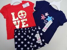 NEW LOT Place t-shirt~Jumping Beans t-shirt~Shorts Baby Girls 12-18 4th of July