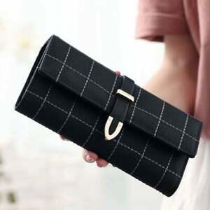 Ladies Women Wallet Purse Envelope Leather Wallet Card Button Clutch Purse Long