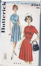 Vintage 1960s Sewing Pattern BOX PLEATED DRESS Butterick 2346 Bust 32