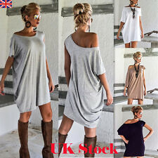 Women One Shoulder Loose Long Tops Ladies Summer Short Sleeve T Shirt Mini Dress