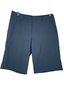 Nike Golf Womens Dri Fit Shorts Size 8 Gray Bermuda Flat Front Stretch Casual