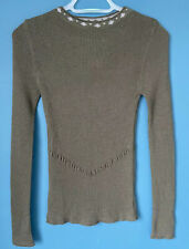 Marithe Francois Girbaud Ribbed Wool Cotton Jumper Slim Stretch Green Size 2