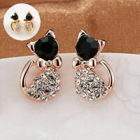 Women Elegant Crystal Stud 1 Pair Rhinestone Animal Love Cats Earrings Ear Gold