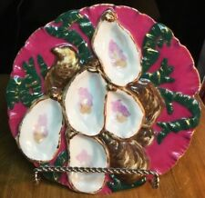 "Antique French Porcelain Oyster Plate in ""Turkey Design"" Rare Color c.1876-89"