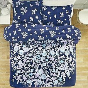 New Garment Washed 100% Cotton 2 Piece Duvet Set Twin/TXL Linnea Navy Floral