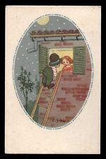 CART.D'EPOCA-illustratore C.GIRIS-BAMBINI,LUNA,NOTTE 5