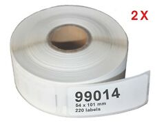 """2 Pack   DYMO 99014  COMPATIBLE THERMAL """"Shipping"""" LABELS  101 X 54 mm"""