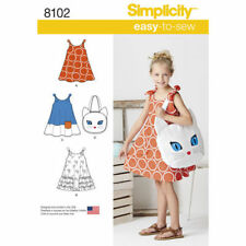 Simplicity Sewing Pattern 8102 Girls 3-8 Easy A Line Dress 3 Styles Kitty Bag
