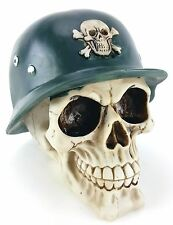 Collectible Skull With Pith Helmet Handpainted Resin Statue Soldier / Fighter