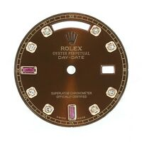 Rolex DayDate Watch Dial Chocolate Diamond-Ruby Baguette 18KR 36mm 118235