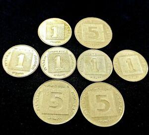 Lot of 8 Coins - 5 Agorot & 1 Agora SPECIAL EDITIONS Hanukkah Menorah & 40 Years