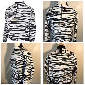 NIKE KOREA Half Zipped Soccer Jacket Zebra Print Gold Logo LS sz M