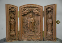 "4 ""Chine Bois Boxwood Sculpture Ouest 3 Dieu Guanyin Fokan Shrine Box"