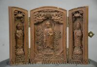 "4 ""Chine Bois Boxwood Sculpture Ouest 3 Dieu Guanyin Fokan Shrine Box"