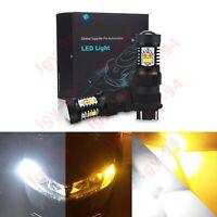 Error Free White/Amber 3157 LED DRL Switchback Turn Signal Parking Light Bulbs