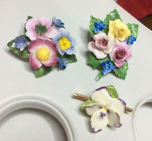 VINTAGE JEWELLERY JOB LOT OF BEAUTIFUL COLOURFUL PORCELAIN FLORAL BROOCHES