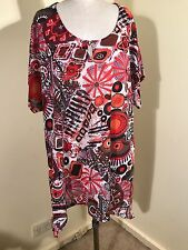 TS14+ SINGLE LAYER STRETCH MESH S/SL ORANGE/BROWN/ WHITE  PRINTED LONG TOP SZ L