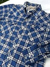 Vintage Sears Mens Medium Western Wear Pearl Snap Shirt White Blue Plaid