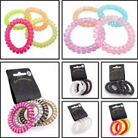 SPIRAL COIL TELEPHONE CORD WIRE PLASTIC ELASTIC HAIR BAND GIRLS WOMENS PONYTAIL