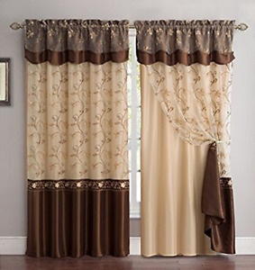 Fancy Collection Embroidery Curtain Set 1 Panel Drapes with Backing & Valance