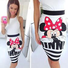 femme à rayures Minnie Mouse taille haute soirée tunique court mini jupe robe