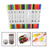 60 Colors Oily Alcohol Twin Tips Art Markers Pens Fine Broad Brush Pen UK