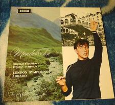 MENDELSSOHN / ABBADO SCOTCH / ITALIAN SYMPHONIES UK LP  DECCA SXL 6363  N/B