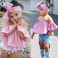 Toddler Kids Baby Girl Summer Off Shoulder Ruffle Collar T-Shirt Top Outfits Set