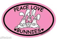 Peace Love Bunnies Pink Oval Magnet