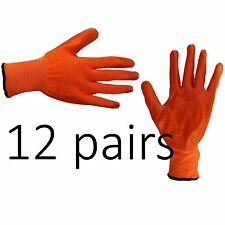 12 X Safety Work Gloves Latex Coated Liner Non Slip Grip Builders Repair Size M