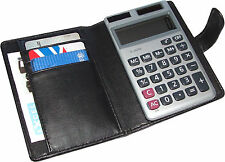 Calculator Holder with Card Slots, Strap closure, Black