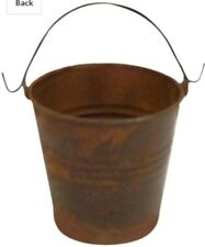 "Craft Outlet Inc Craft Outlet 3"" Rustic Pail W/Handle Set of 4 Brown Mini Bucket"