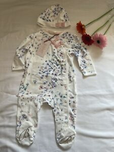 BNWT Baby Girls Ted Baker Sleepsuit & Hat Set Outfit Floral Age 3-6 Months
