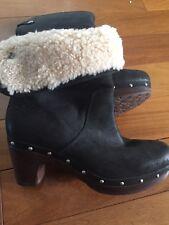 UGG Australia Women's Black Leather Boots - EU Size 36 (US 5)