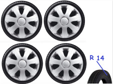 "RENAULT CLIO WHEEL TRIM HUB CAP PLASTIC COVERS FULL SET 4 SILVER 14"" INCH RCNG"