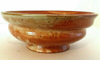 "Studio Pottery Shino Glaze Bowl Rust Brown & White 3""H 8""W Signed Handmade EUC"