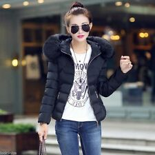 New Winter Warm Women Short Slim Down Cotton Fur Collar Hooded Coat Jacket Parka