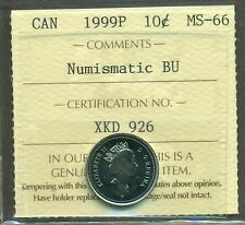 Test Token 1999P Canada 10 cent Certified ICCS MS-66 NBU