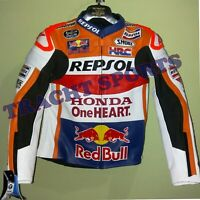 Honda Repsol One Heart Cowhide Leather Motorbike Road Racing Jacket MotoGp